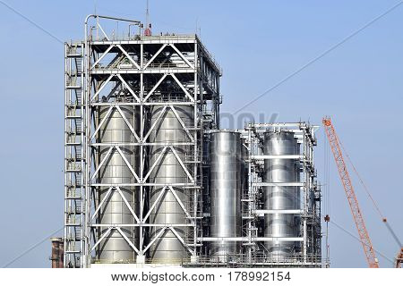 Storage silos of petrochemical industry and refinery plant.