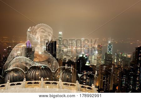 Double Exposure Giant Buddha Sitting On Lotus In Hong Kong,night View Of The Peak City Life.