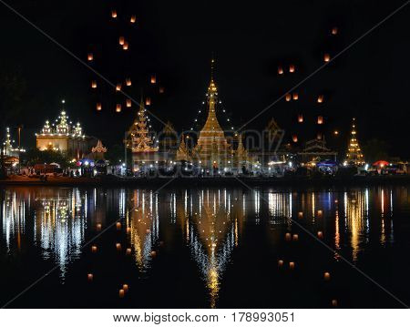 Wat Chong Kham and Chong Klang a popular tourist attraction  , Temple  is located in the center of Mae Hong Son,Thailand .