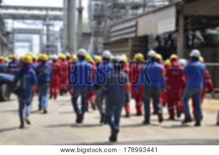 Blurred construction worker in construction site . Safety construction concept .