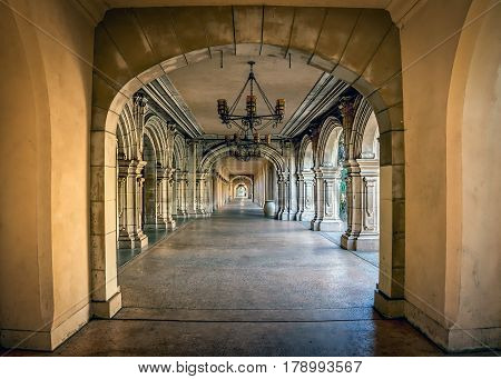 The Spanish architecture of a corridor at Balboa Park in San Diego CA