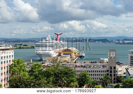 SAN JUAN PUERTO RICO - SEPTEMBER 15 2013: cruise ship in port from top San Juan Puerto Rico