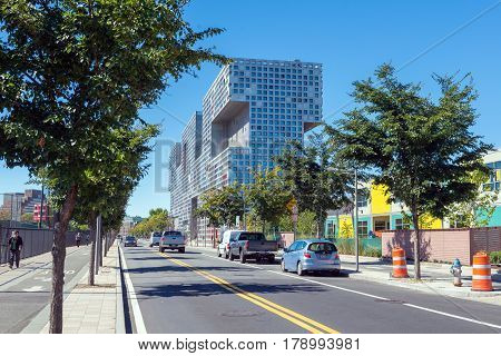 BOSTON MASSACHUSETTS - SEPTEMBER 23 2013: street view of Simmons Hall building MIT