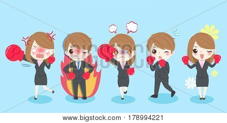 cute cartoon business people playing boxing on blue background