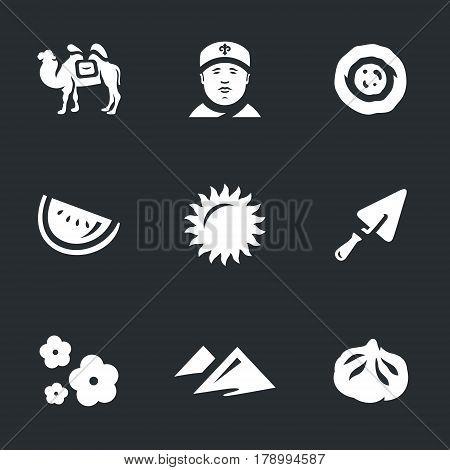 Camel, man, cake, watermelon, sunshine, trowel, flower, dune, food.