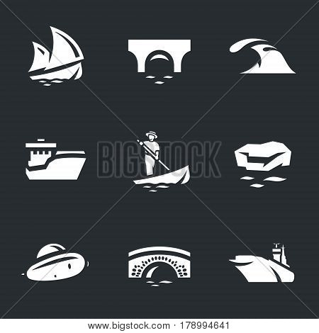Sailboat, bridge, wave, ship, gondola, ice floe, submarine, aircraft carrier.