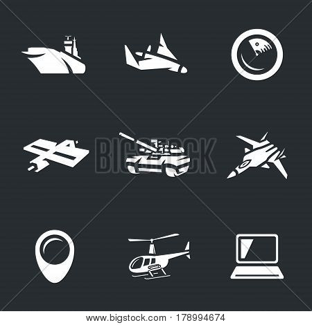Aircraft carrier, drone, radar, satellite, tank, fighter, pointer, helicopter, computer.