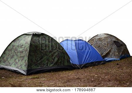 Tourist camp on white background ,Vacation ,Holiday concept.