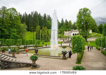 Fountain Group Flora And Puttos In Linderhof Palace. Bavaria, Germany