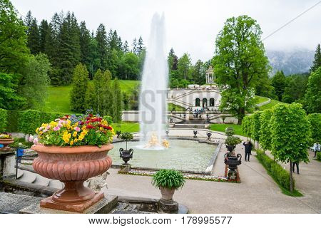 Linderhof Palace. Fountain Group Flora And Puttos. Focus On Flowers.