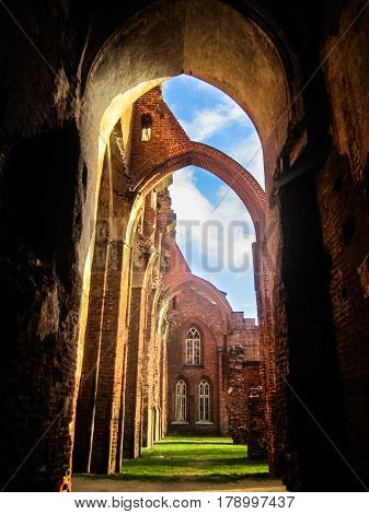 The ruins of the Gothic cathedral of red brick with blue sky and green grass
