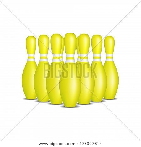Bowling pins in yellow design with white stripes standing in formation on white background