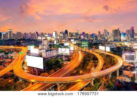 Cityscape view of expressway and modern building in the centre of BangkokThailand. Expressway is the infrastructure for transportation in big city.