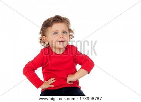 Playful baby red jersey isolated on a white background