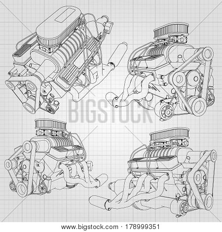 A Set Of Several Types Of Powerful Car Engine. The Engine Is Drawn With Black Lines On A White Sheet