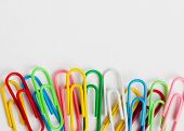 Many colorful paper clips. Use for background poster