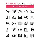 Hotel services and hotel facilities vector thin line icons set. 32x32 px. Modern line graphic design concepts for websites, web design, mobile app, infographics. Pixel perfect vector outline icons set poster