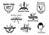 Barber shop or hairdresser salon icons. Vector symbols of hairbrush comb and scissors, hair haircut. Premium badges, wreath ribbons and stars set for coiffeur or hipster trend haircutter sign poster