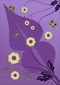 Beautiful purple vector flower design with butterflies poster