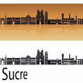 Sucre skyline in orange background in editable vector file poster