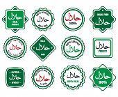 Islamic kosher certified arabic meal emblems. Vector halal signs or islamic food logo icons poster