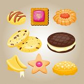 Different cookie homemade breakfast bake cakes isolated and tasty snack biscuit pastry delicious sweet dessert bakery eating vector illustration. Gourmet indulgence stack unhealthy confectionery. poster