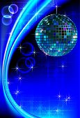 Disco background with mirror ball and abstract waves and halftones poster