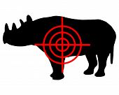 Detailed and colorful illustration of black Rhinoceros crosshair poster
