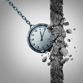 Time limit deadline schedule concept as a clock shaped as a wrecking ball destroying and breaking a cement wall obstacle as a business scheduling and management metaphor with 3D illustration elements. poster