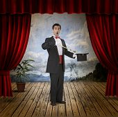 A funny magician on stage poster