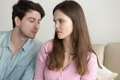 Guy tries to kiss woman, girl dislikes flirting and rejecting man, not interested, saying no, turning away, bad blind date, friend zone, problems in relationships, trying to make peace after quarrel poster