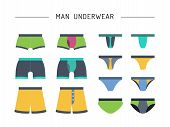set of men underwear, cowards, drawn in a flat style, color. Vector illustration isolated, table of the different models of men underwear. The pants shown with the front and back sides each model poster