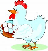 Mother hen holding a basket of eggs poster