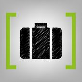 Briefcase sign illustration. Vector. Black scribble icon in citron brackets on grayish background. poster