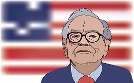 March, 2017: Investor and economist Warren Buffett forecasts stocks maket changes will continue to rise. Warren Buffett portrait on US flag background, vector illustration.