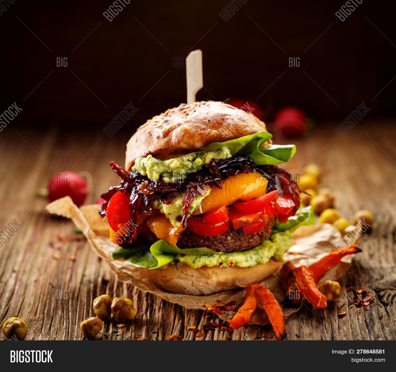 Vegan Burger Carrot Image Photo Free Trial Bigstock
