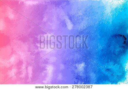 Watercolor Texture Vector Background. Purple Blue Gradient Aquarelle Painting. Colorful Watercolor S