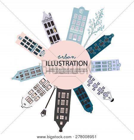 City Illustration Sketch, Europe Urban Cityscape. Small Cozy Home Print. Megapolis Exterior Modern C
