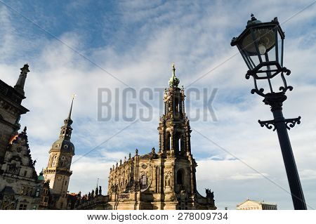 Katholische Hofkirche Roman Catholic Cathedral In Dresden Germany.