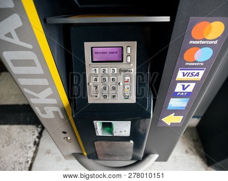 Basel, Switzerland - Mar 22, 2018: Modern Parking Machine In Airport Parking Accepting All Credit An