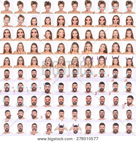 Collage Of Emotions Girl And Bearded Man. Different Emotions. Emoji Set Of Pretty Girl&bearded Man.