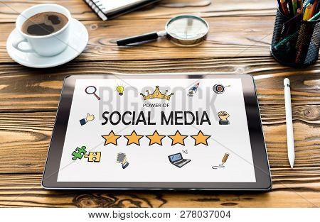 Social Media Concept On Digital Tablet Screen