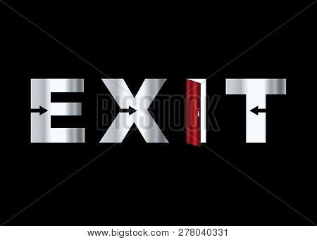 Silver Exit Word Icon In Trendy Design Style. Exit Icon Isolated On Black Background. Exit Vector Ic