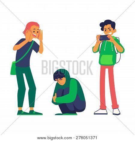 Vector Teen Man Makes Photo Of Bullied Teen
