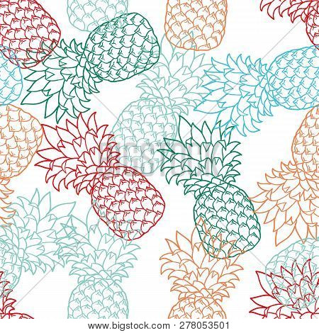 Seamless Pattern With Pineapples Color, Contour. Pineapple On White Background