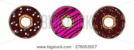 Donuts With Brown Chocolate And Pink Glaze. Donuts With Powder. Donut Set Isolated On A White Backgr