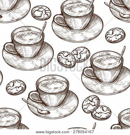 Hand Drawn Food Seamless Pattern, Cup (mug) Of Hot Drink (coffee, Tea Etc), Oat Cookies