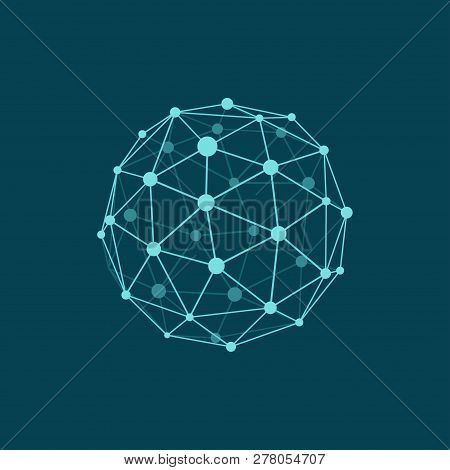 Vector Illustration Of Wireframe Sphere On Dark Blue Background. Abstract Geometric Polygonal Object