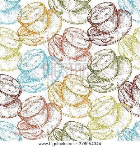 Hand Drawn Food Seamless Pattern, Cup (mug) Of Hot Drink (coffee, Tea Etc). Coffee Cup, Tea Cup