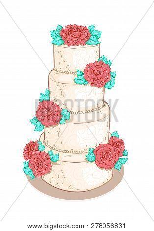White Layered Wedding Cake With Flowers (roses)  Isolated On White Background